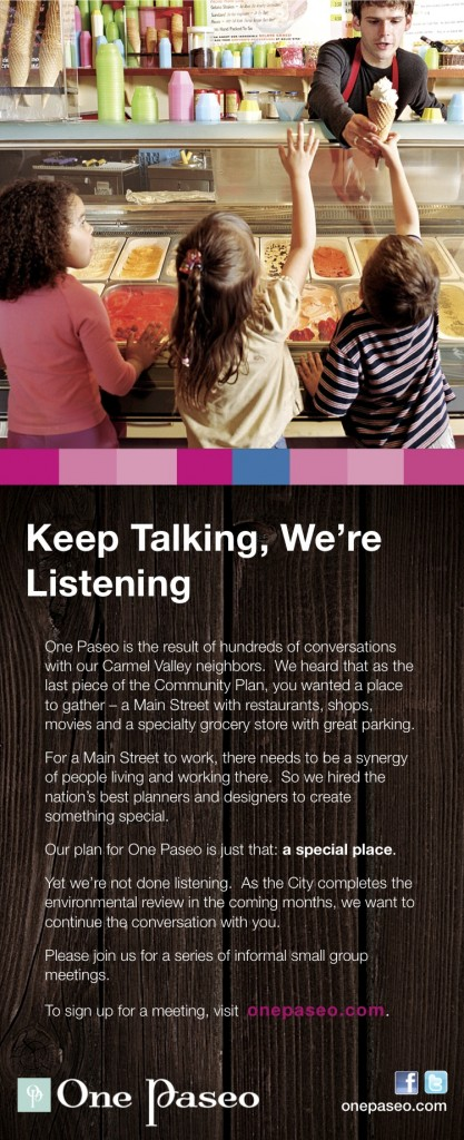 Carmel Valley San Diego Community | Keep Talking, We're Listening | One Paseo A Mainstreet for Carmel Valley