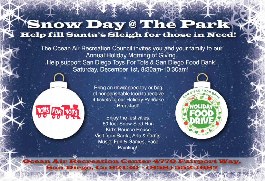 Carmel Valley San Diego Community | Snow Day at the Park | Ocean Air Park & Rec Center