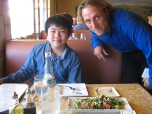 Carmel Valley San Diego Community | Perry Chen | Perry with waiter Stephane-Trawalter at French Gourmet