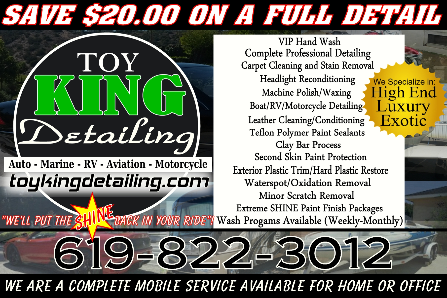 Carmel Valley San Diego Community | Toy King Detailing Promo Piece